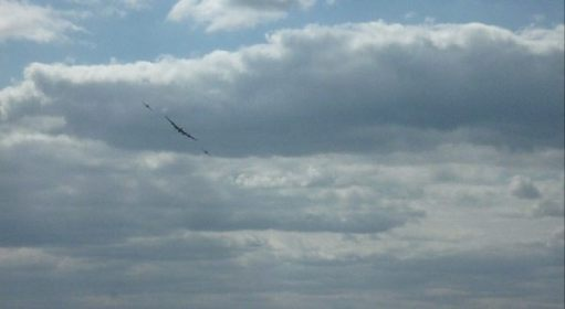 Once airborne, she was joined by the Hurricane and Spitfire to form the memorial flypast. (Click on the picture)