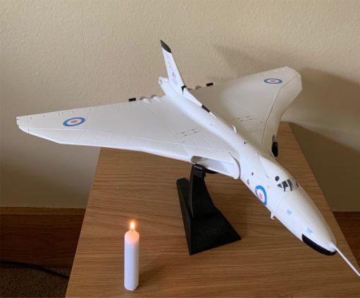 A model Concorde and a Candle Lit for Diddley.