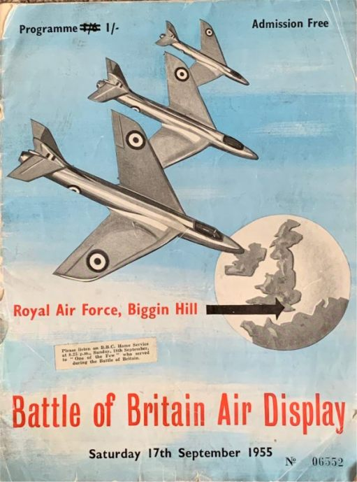 Battle of Britain Air Display programme. Price 1/6d, but crossed out and changed to 1/-. Saturday 17th September 1955.