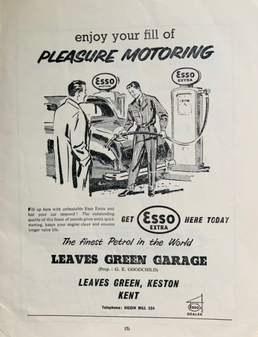Advert for Esso Extra petrol and the Leaves Green Garage in Keston, Kent.