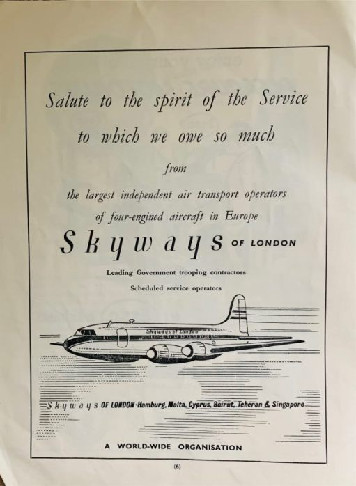 Advert for Skyways of London. Leading Government trooping contractors. Scheduled service operators.