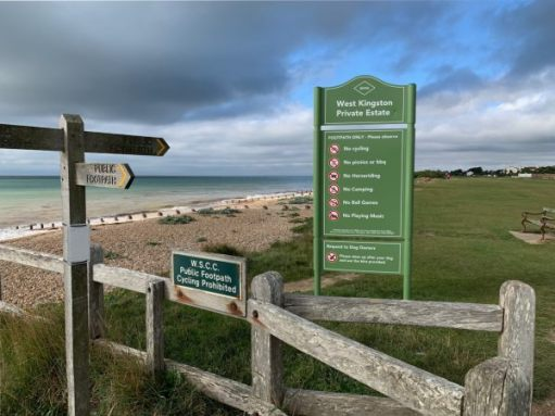 """West Kingston Private Estate. The board may look a little authoritative, but this is why we all enjoy walking on the grass by the sea. A rare privilege in """"Sussex by the Sea""""."""