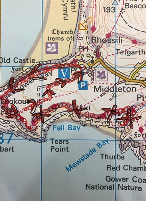 Map of the Gower Peninsula and the walk to Mewslade Bay.