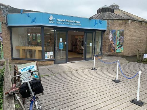 The Wildlife and Wetlands Trust main entrance at Arundel. Bobby's bike is parked outside.