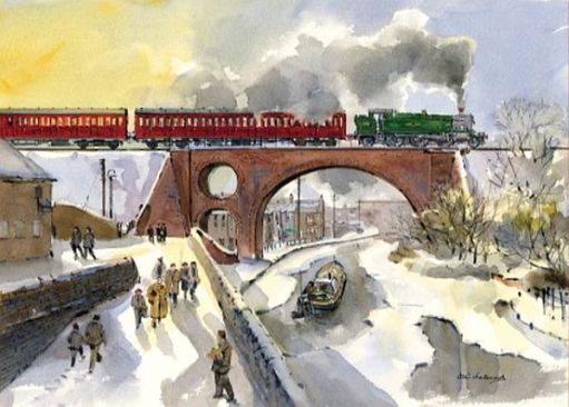 Local steam train crossing a frozen canal, with people passing by in their winter coats.