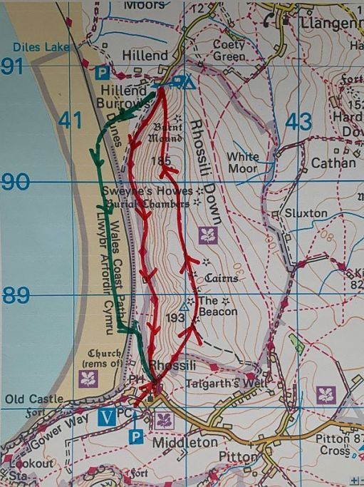 Map of Rhossili Down and walking routes.