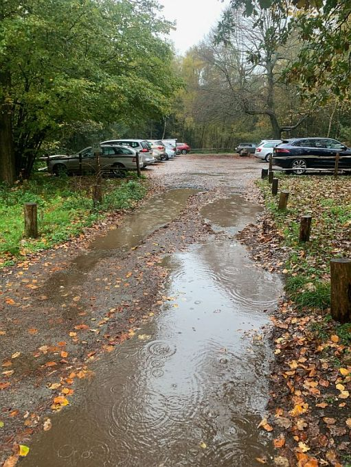 The National Trust car park at Abinger Roughs. Very wet and very busy.
