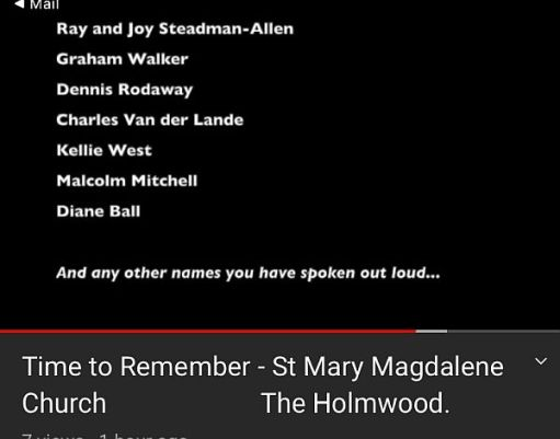 Diddley's name amongst those remembered in the service.