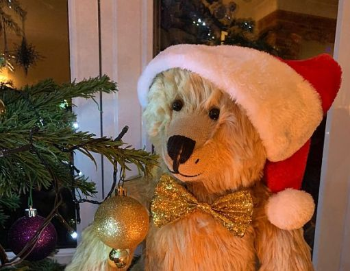 Bertie in a Christmas Hat and wearing a glittery gold bowtie by the Christmas Tree.