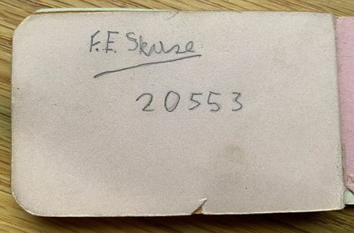 Signature F.E. Skuse 20553 in the Little Pink Book.