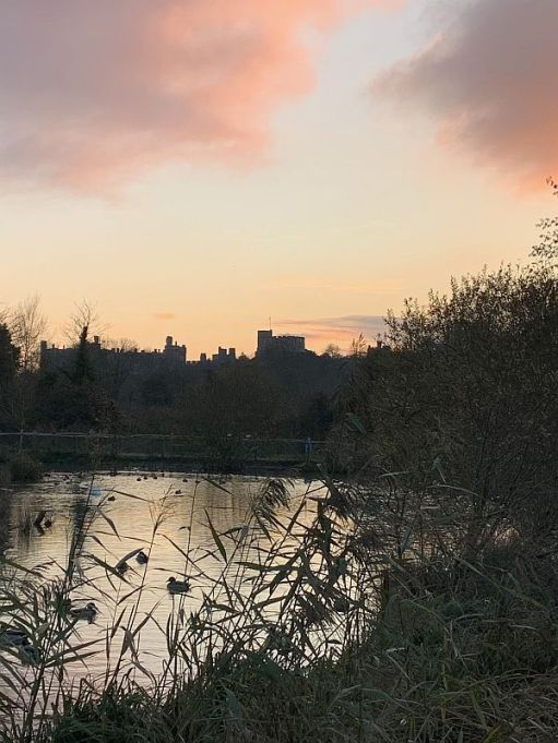 Sunset over Arundel Council as seen from the Wetlands.