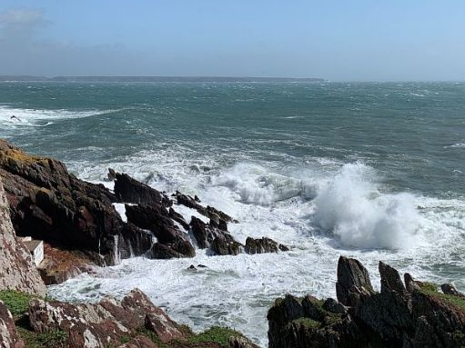Stormy Waves against Skokholm Island.