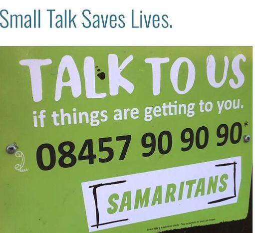 """Samaritans Poster - """"Small Talk Saves Lives""""."""