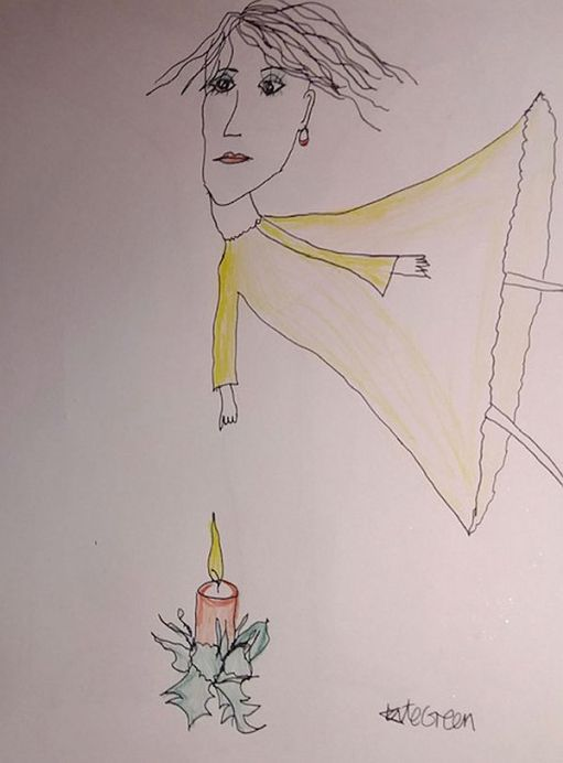 A colour drawing of a candle lit for Diddley with a lady above it.