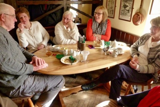 Bobby and the four ladies having lunch at the Butchers Arms, Sheepscombe (nearby).