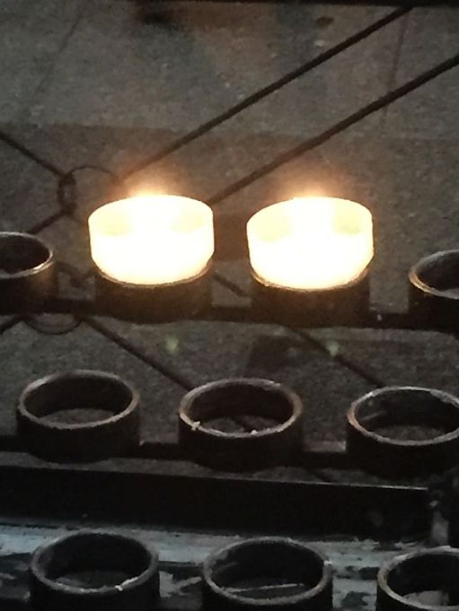 Two candles - one lit for Diddley, the other for Don Dawes.