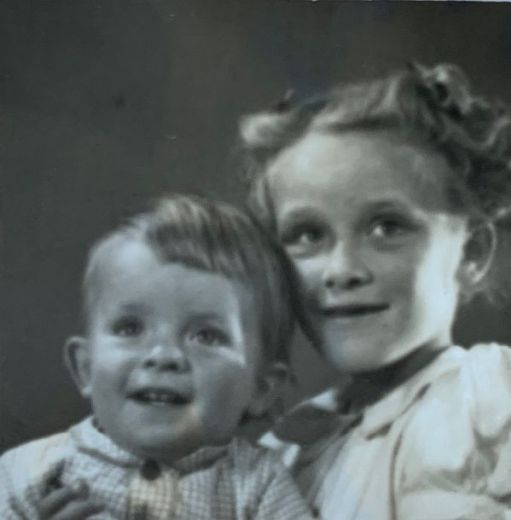A black and white photograph of Bobby and Wendy, 1944,