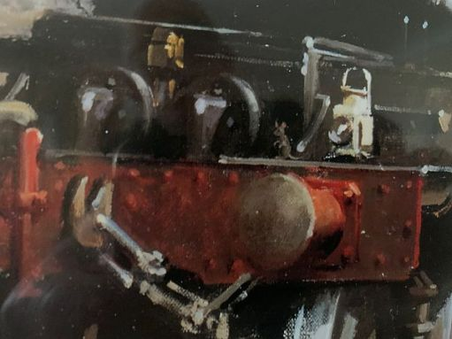 Close-up of the mouse on the buffer beam of the South Wales Pullman.