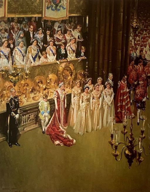 From the catalogue. Sections of the Coronation painting loaned to the Exhibition by Her Majesty the Queen.