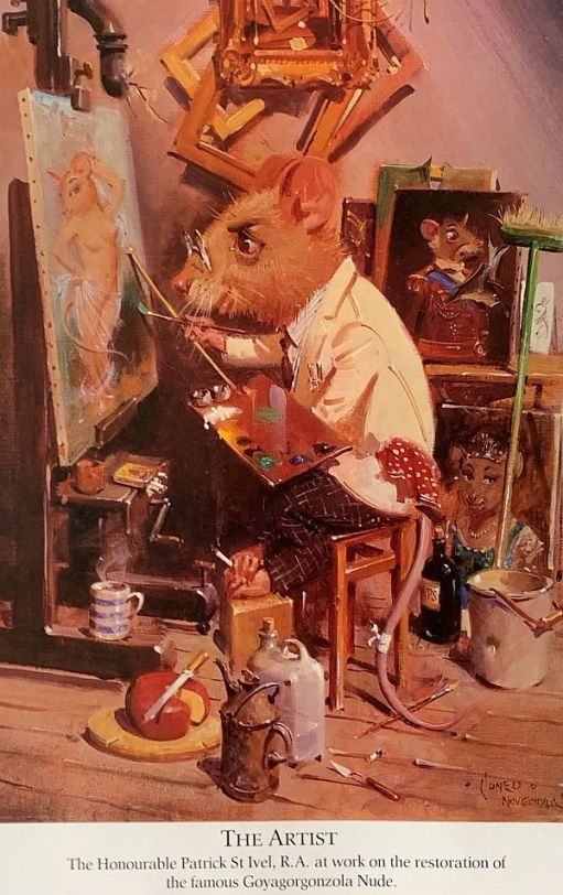 A mouse painting a picture.