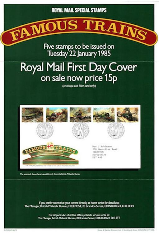 Famous Trains First Day Covers.