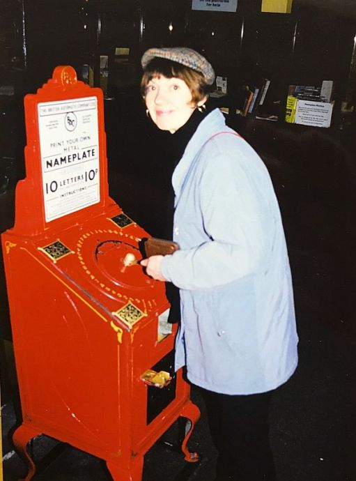 Diddley wearing a flat cap at the National Railway Museum in York.