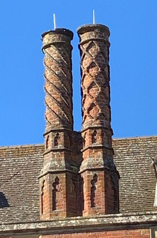 Ornate brick chimneys, Wotton House.