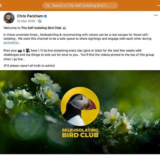 Self-Isolating Bird Club Facebook Group.