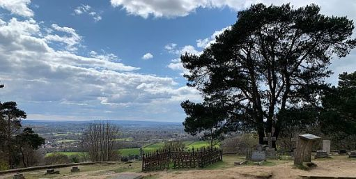 The view from St Martha's graveyard towards Hindhead.