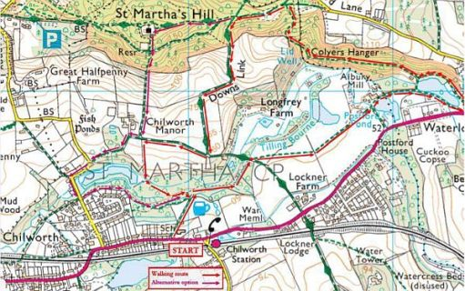 OS Map of Chilworth and St Martha's.