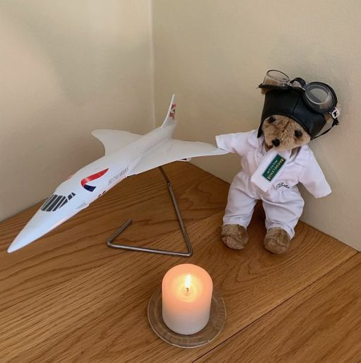 Brooklands Bertie, a model of Concorde and a Candle lit for Diddley.