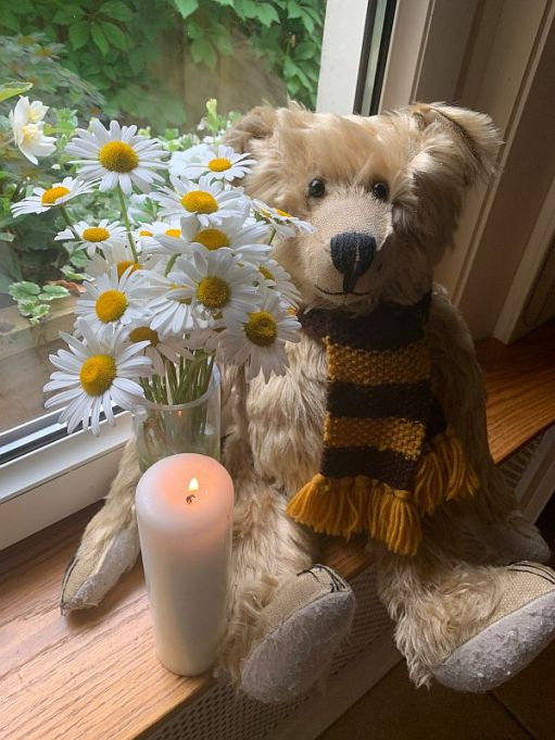 Bertie alongside a vase of Moon Daisies and a candle lit for Diddley in front.