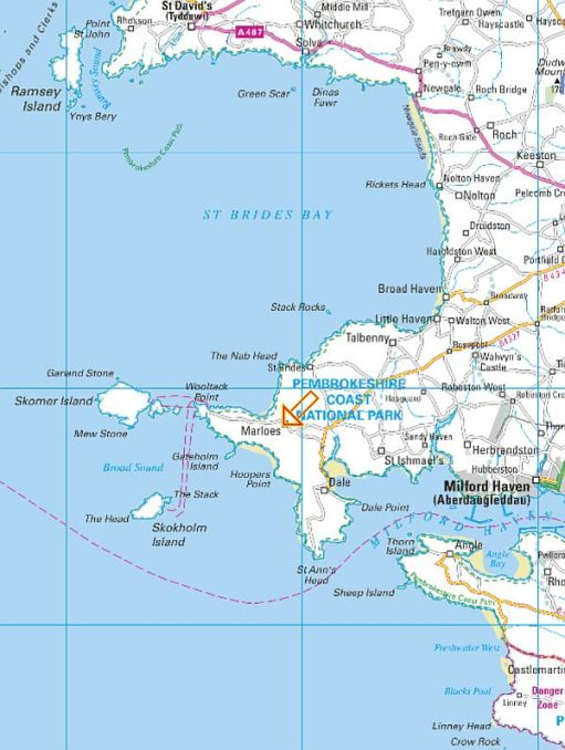 Map of the Pembrokeshire Coastline. 35 Years Bobby's been coming here.