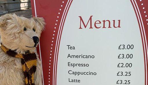 Bertie by the menu. Tea £3.00.