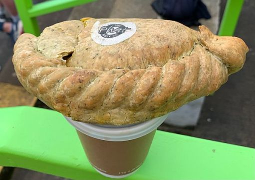 """A Cornish Pasty from the Phat Pasty Co. Top picture on the blog """"Just Four Days""""."""