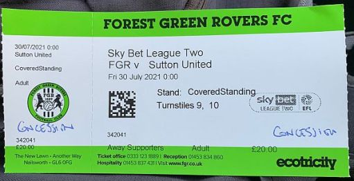 Away ticket for Forest Green Rovers FC v Sutton United.