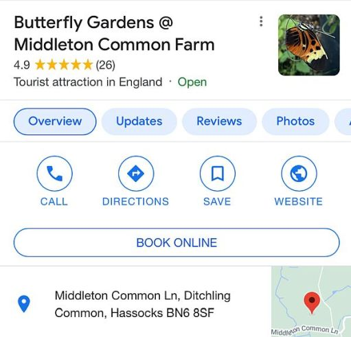 Google Review Page of Butterfly Gardens at Middleton Farm.