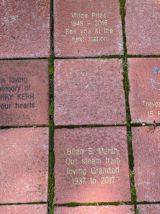 Memorial tiles, Bluebell Railway garden.