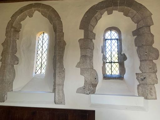 Two windows in Wisley Church.