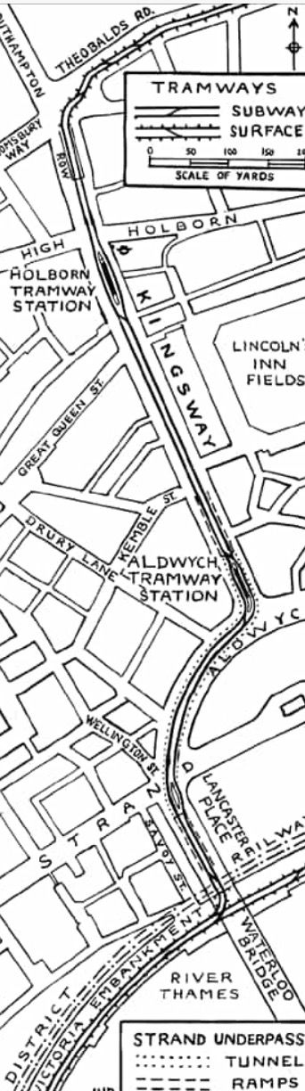 Map of the original route of the Kingsway Tram Tunnel.