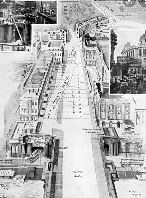 An artist's impression of the original entrance, to the side of Waterloo Bridge, and the section of tunnel that is now the Strand underpass. The entrance to that today is on the bridge itself.