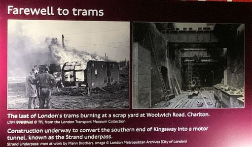 """Poster showing """"progress"""". Trams being destroyed by fire and part of the Kingsway Tram Tunnel being converted into the Strand Underpass."""