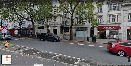 Site of the entrance to Holborn Tram Station in Kingsway.