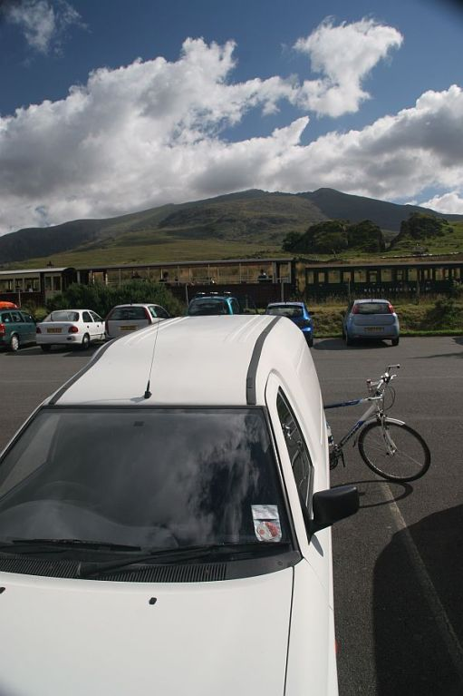 LWV and bike. Snowdon in the background.