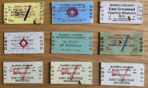 Some Bluebelll Railway tickets.