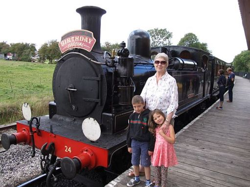 Diddley's birthday. 19 August 2014. (See signboard) with Sonny and Kyla. Wootton.
