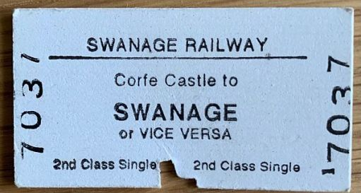 Swanage Railway ticket: Corfe Castle to Swanage or vice versa 2nd class single.
