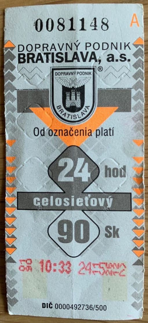 Bratislavian day ticket.