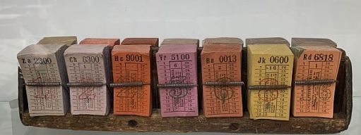 Rack of bus tickets.