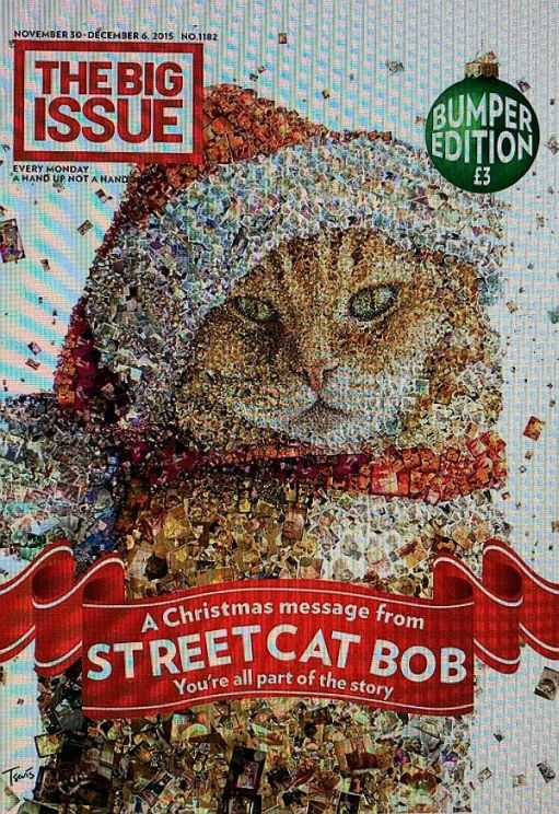 Bob as a montage on the Big Issue Special. Christmas 2015.